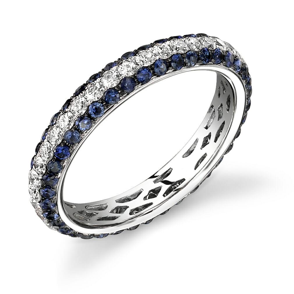 Diamond Amp Blue Sapphire Eternity Ring The Diamond Guys