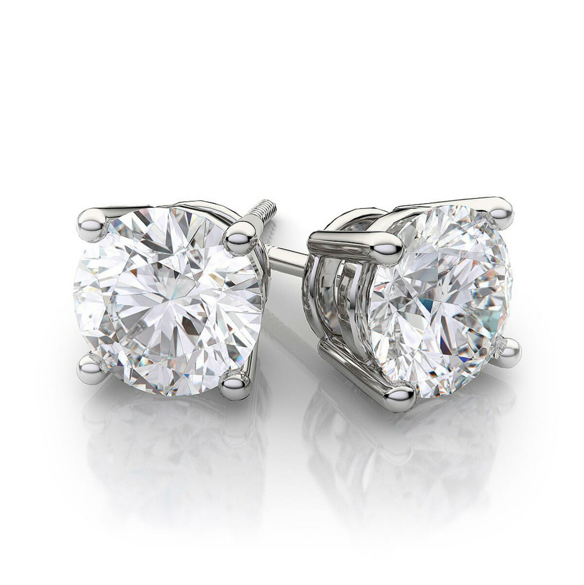 carats round diamond earrings forevermark products prong martini cut stud ideal