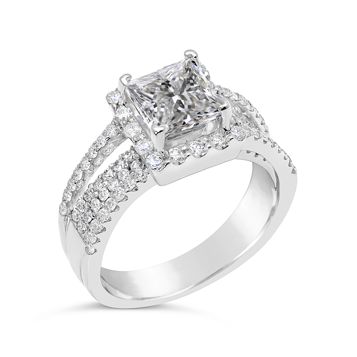 halo engagement ring pre set with princess cut