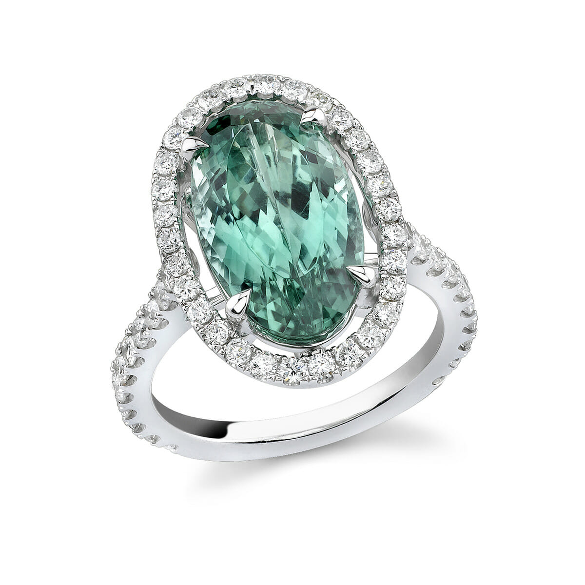diamond platinum halo oval green tourmaline img engagement in image cut ring with rings