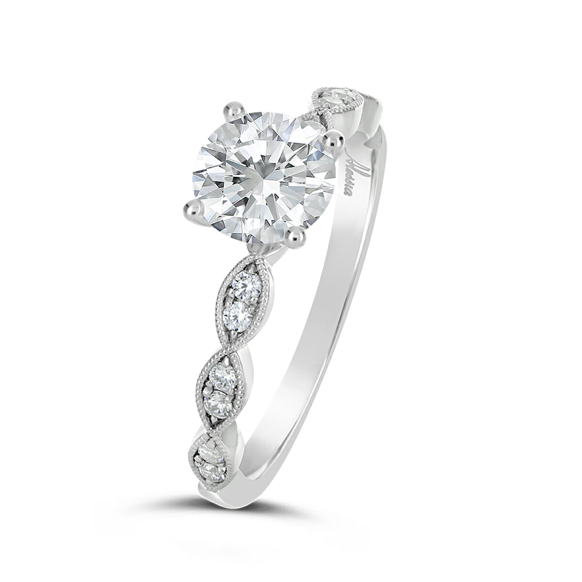 Vintage Style Diamond Engagement Ring , Alessia Collection