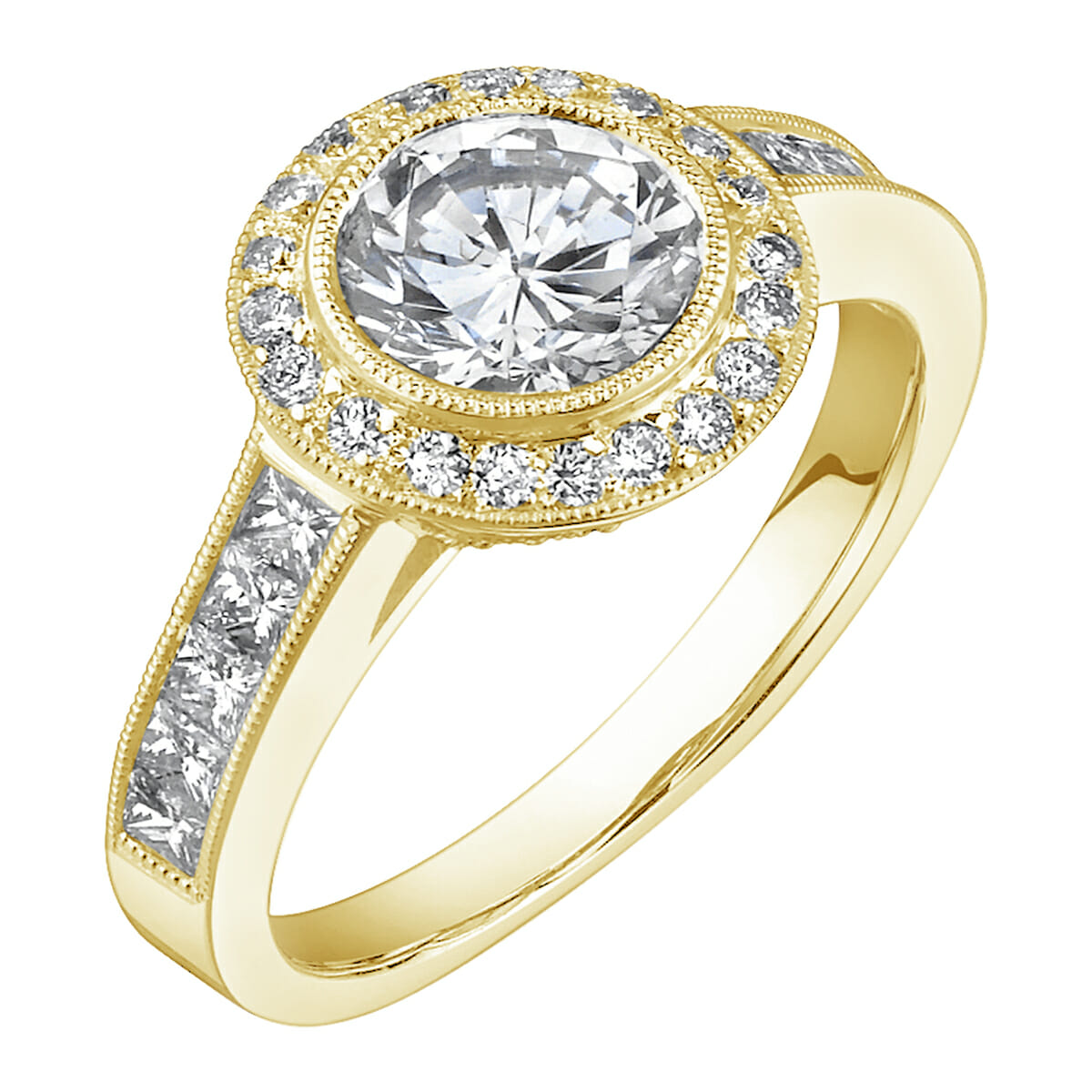 set square gold accent accen engagement white ring diamond bezel halo back