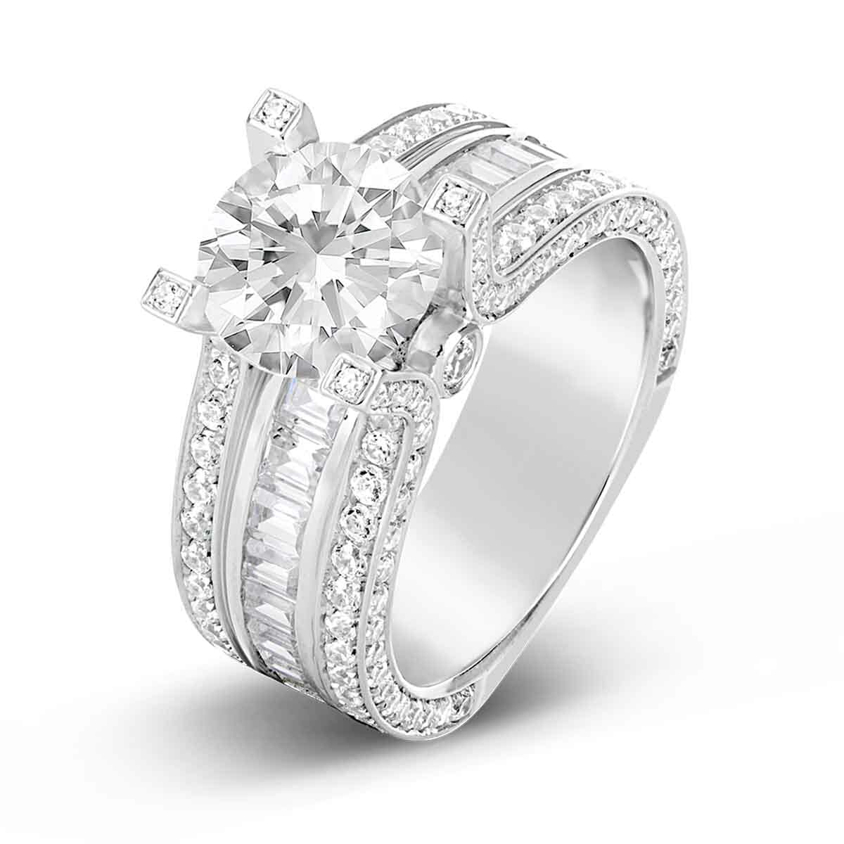 It is just a graphic of Wide Band Diamond Engagement Ring - The Diamond Guys Collection